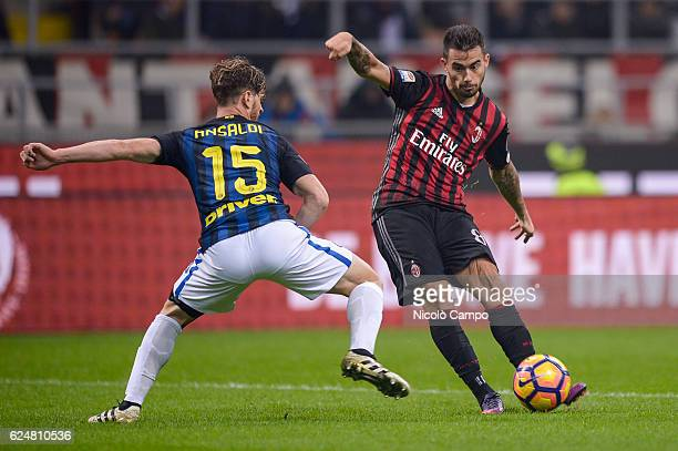 Suso of AC Milan scores the opening goal during the Serie A football match between AC Milan and FC Internazionale