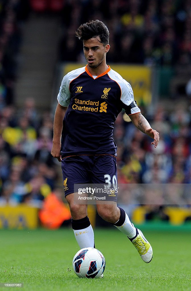 Suso of Liverpool during the Barclays Premier League match between Norwich City and Liverpool at Carrow Road on September 29, 2012 in Norwich, England.