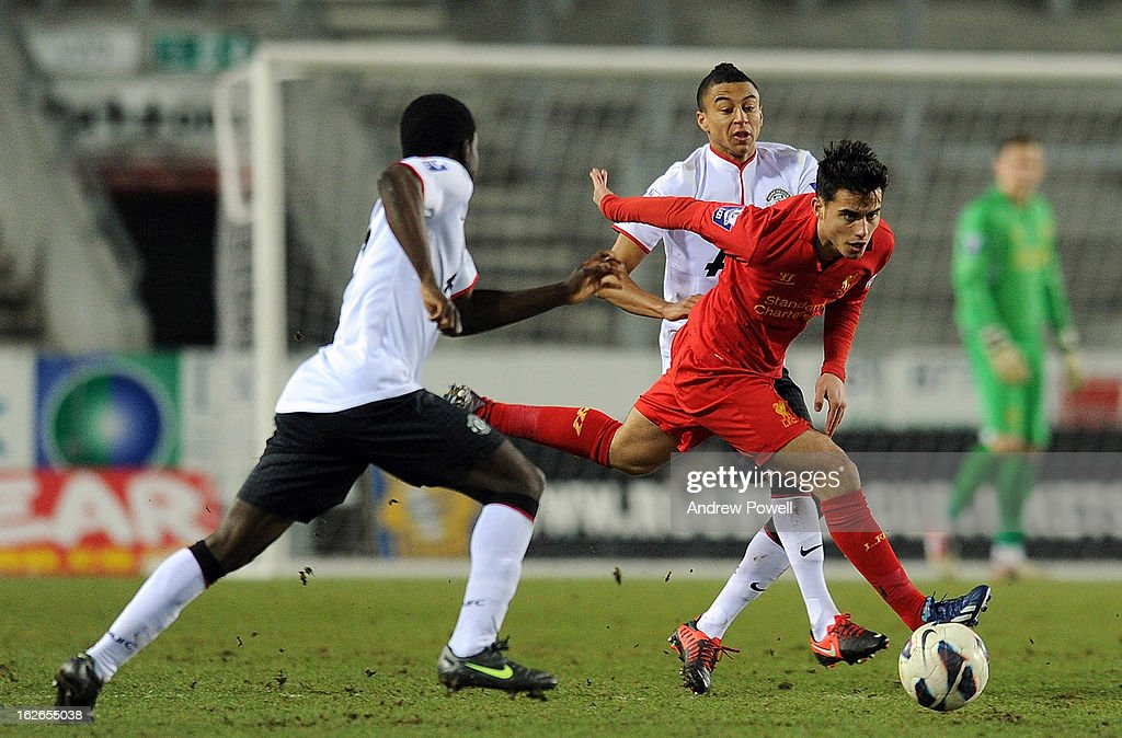 Suso of Liverpool in action during the Barclays Premier Reserve League match between Liverpool Reserves and Manchester United at Langtree Park on February 25, 2013 in St Helens, England.