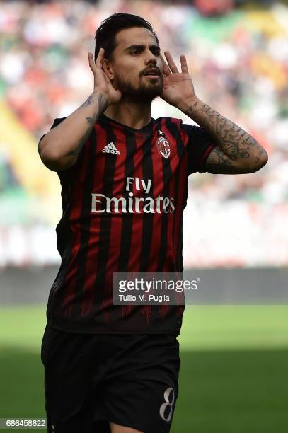 Suso of Milan celebrates after scoring the opening goal during the Serie A match between AC Milan and US Citta di Palermo at Stadio Giuseppe Meazza...