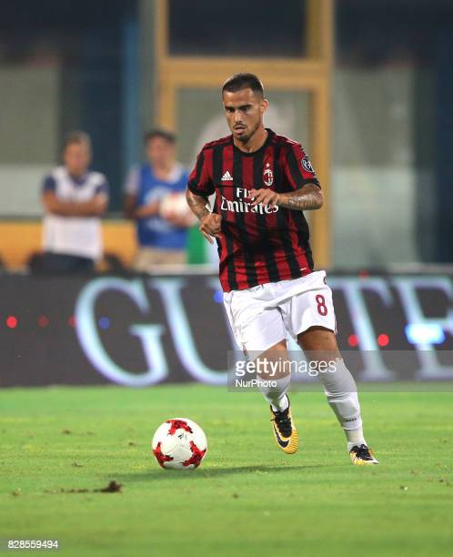 Suso of Milan during the PreSeason Friendly match between AC Milan and Villareal at Stadio Angelo Massimino on August 9 2017 in Catania Italy