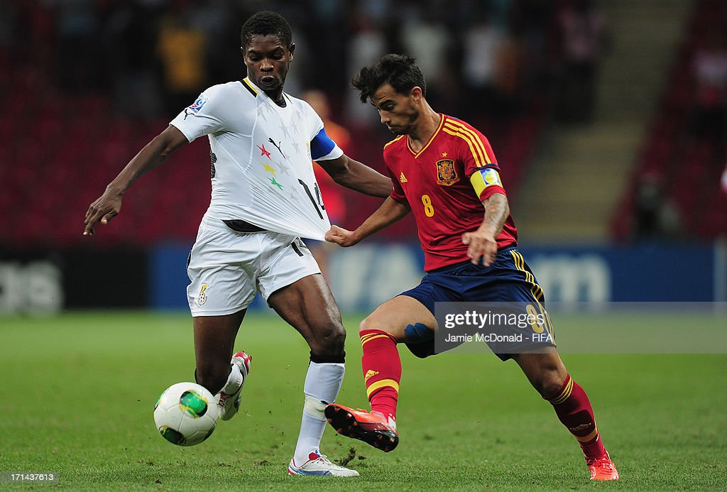 Suso of Spain battles with Lawrence Lartey of Gagana during the FIFA U-20 World Cup Group A match between Spain and Ghana at the Ali Sami Yen Arena on June 24, 2013 in Istanbul, Turkey.