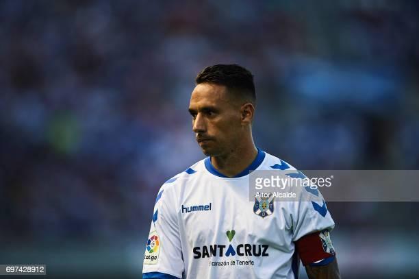 Suso Santana of CD Tenerife looks on during La Liga 2 play off round between CD Tenerife at Heliodoro Rodriguez Lopez Stadium on June 18 2017 in...