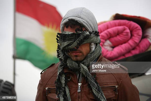 A suspected ISIL or in Arabic Daesh fighter is detained by Kurdish Peshmerga forces after he fled his frontline village to a Kurdishcontrolled area...