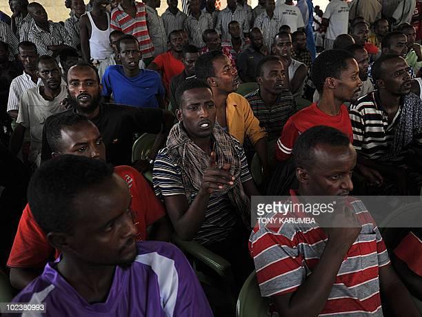 Suspected Somali pirates awaiting trial lookon at the Shimo la Tewa maximum prison at the Kenyan coastal town of Mombasa during a visit by Justice...