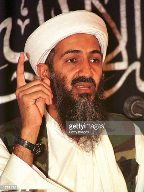 Suspected terrorist leader Osama bin Laden addresses a news conference May 26 1998 in Afghanistan US Secretary of State Colin Powell told the Senate...