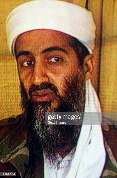 Suspected terrorist Osama bin Laden is seen in this undated photo taken from a television image