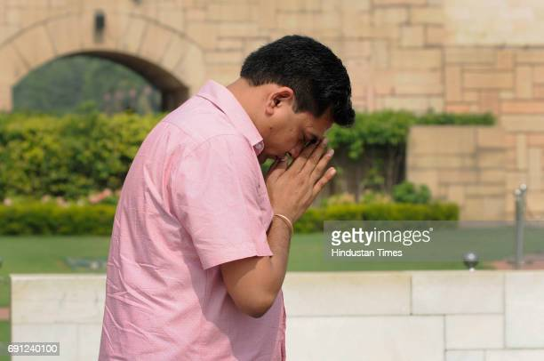 Suspended Aam Aadmi Party MLA Kapil Mishra pays tribute at the Rajghat Memorial for Mahatama Gandhi a day after he was roughed up in the assembly on...