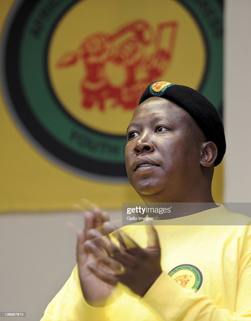 Suspended ANC Youth League leader <a gi-track='captionPersonalityLinkClicked' href=/galleries/search?phrase=Julius+Malema&family=editorial&specificpeople=5866727 ng-click='$event.stopPropagation()'>Julius Malema</a> on Day 1 of the three-day ANC Youth League Lekgotla on February 10, 2012 in Pretoria, South Africa. Malema, who faces expulsion from the African National congress after violating some of its rules, repeated his calls for the nationalisation of banks and mines during what could be his last address as the leader of the ANC Youth League.