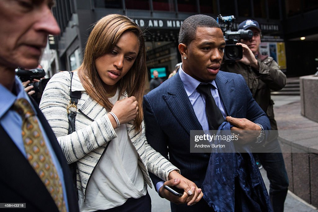 Suspended Baltimore Ravens football player <a gi-track='captionPersonalityLinkClicked' href=/galleries/search?phrase=Ray+Rice&family=editorial&specificpeople=3980395 ng-click='$event.stopPropagation()'>Ray Rice</a> (R) and his wife <a gi-track='captionPersonalityLinkClicked' href=/galleries/search?phrase=Janay+Palmer&family=editorial&specificpeople=13554794 ng-click='$event.stopPropagation()'>Janay Palmer</a> arrive for a hearing on November 5, 2014 in New York City. Rice is fighting his suspension after being caught beating his wife in an Atlantic City casino elevator in February 2014.