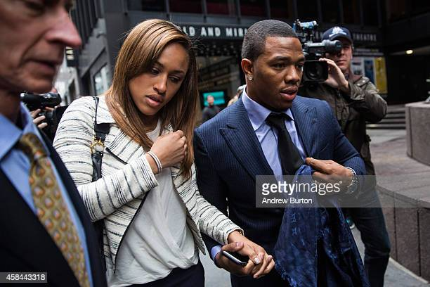 Suspended Baltimore Ravens football player Ray Rice and his wife Janay Palmer arrive for a hearing on November 5 2014 in New York City Rice is...