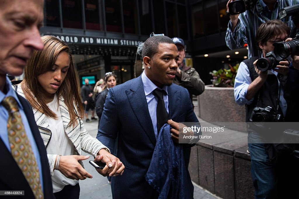 Suspended Baltimore Ravens football player Ray Rice (R) and his wife Janay Palmer arrive for a hearing on November 5, 2014 in New York City. Rice is fighting his suspension after being caught beating his wife in an Atlantic City casino elevator in February 2014.