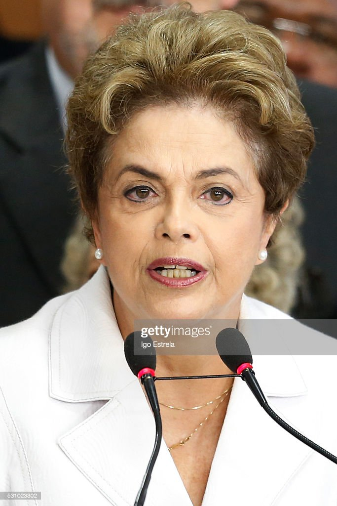 Suspended Brzilian President Dilma Rousseff speaks to supporters at the Planalto presidential palace after the Senate voted to accept impeachment charges against Rousseff on May 12, 2016 in Brasilia, Brazil. Rousseff has been suspended from her presidential duties and will face a Senate trial for alleged manipulation of government accounts.