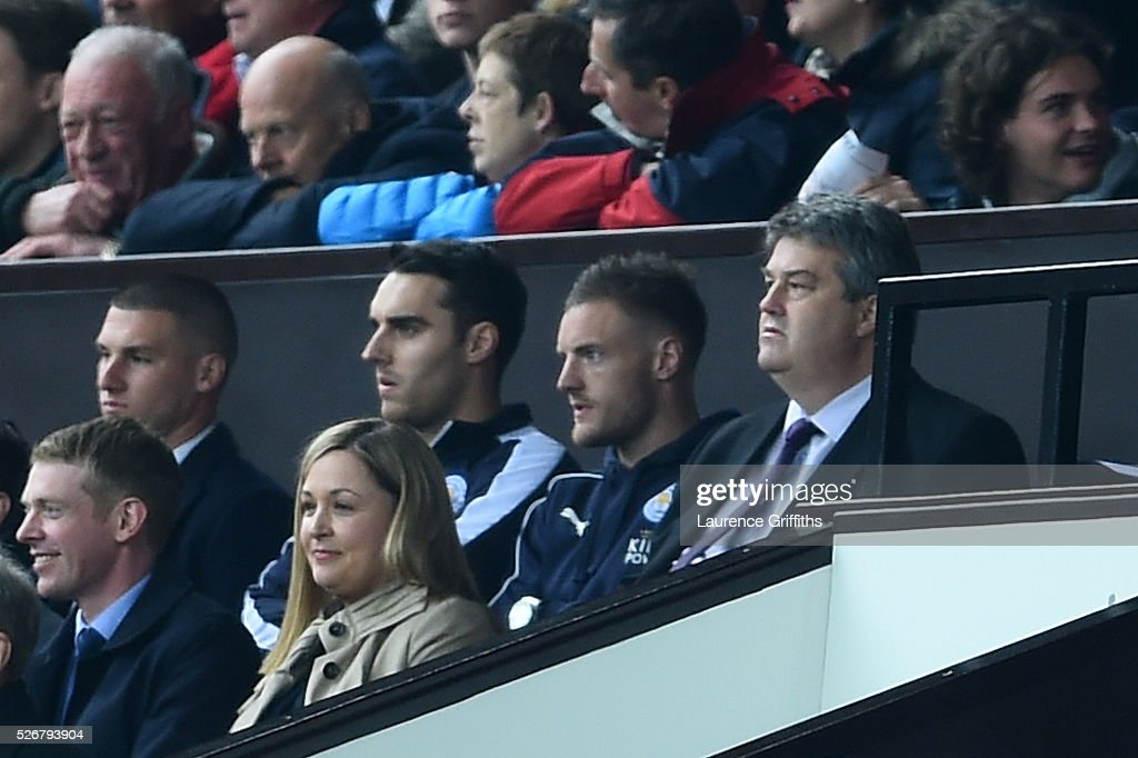 A suspended <a gi-track='captionPersonalityLinkClicked' href=/galleries/search?phrase=Jamie+Vardy&family=editorial&specificpeople=8695606 ng-click='$event.stopPropagation()'>Jamie Vardy</a> of Leicester City looks on from the stands during the Barclays Premier League match between Manchester United and Leicester City at Old Trafford on May 1, 2016 in Manchester, England.