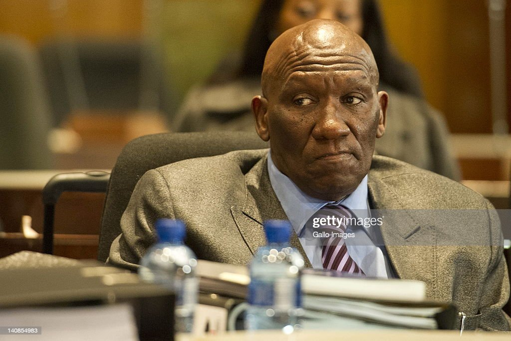 Suspended National Police Commissioner General Bheki Cele appears at the Board of Inquiry's probe into allegations of misconduct against him on March 7, 2012 in Pretoria, South Africa. Bheki Cele is being investigated for unlawful leasing of two police office spaces.