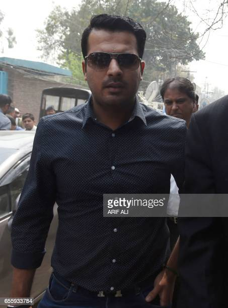 Suspended Pakistani cricketer Sharjeel Khan arrives at Pakistan's Federal Investigation Agency to record his statement in Lahore on March 21 2017 The...
