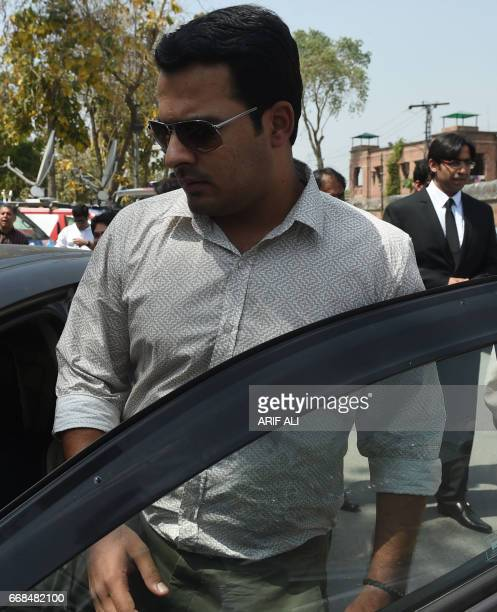 Suspended Pakistani cricketer Sharjeel Khan steps into a vehicle after appearing before a tribunal in Lahore on April 14 2017 Pakistan cricket...