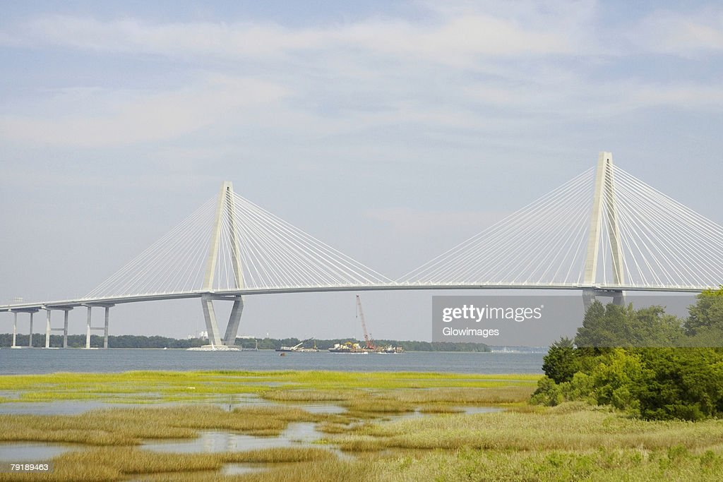 Suspension bridge across a river, Cooper River Bridge, Cooper River, Charleston, South Carolina, USA : Foto de stock