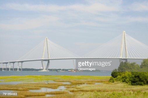 Suspension bridge across a river, Cooper River Bridge, Cooper River, Charleston, South Carolina, USA : Foto de stock