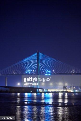 Suspension bridge lit up at night, Talmadge Bridge, Savannah River, Savannah, Georgia, USA : Stock Photo