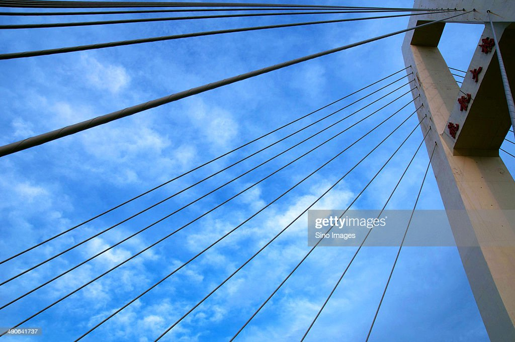 Suspension Bridge With Wire Rope Stayed Stock Photo | Getty Images