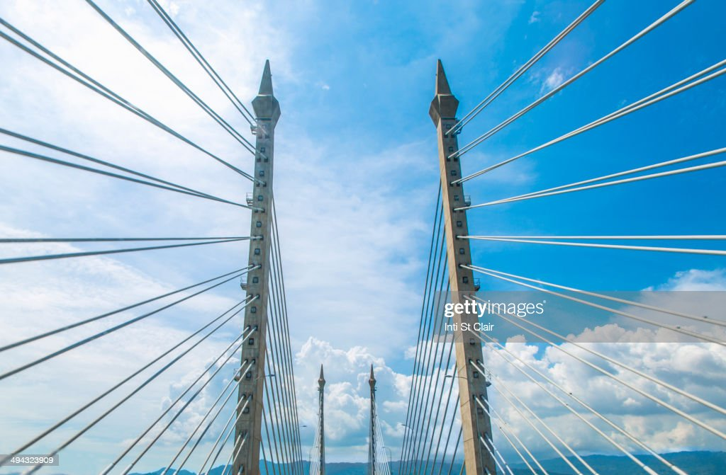 Suspension cables of Penang bridge, George Town, Penang, Malaysia : Stock Photo