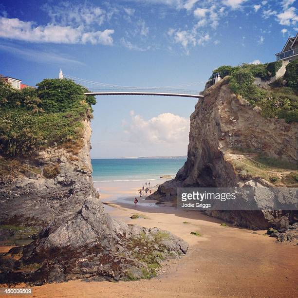 Suspension footbridge spanning high coastal cliffs
