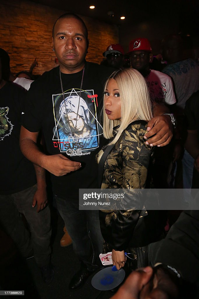DJ Suss One and Nicki Minaj attend the 2013 PreVMA Party hosted by Yaris and Ace Hood at Stage 48 on August 22 2013 in New York City