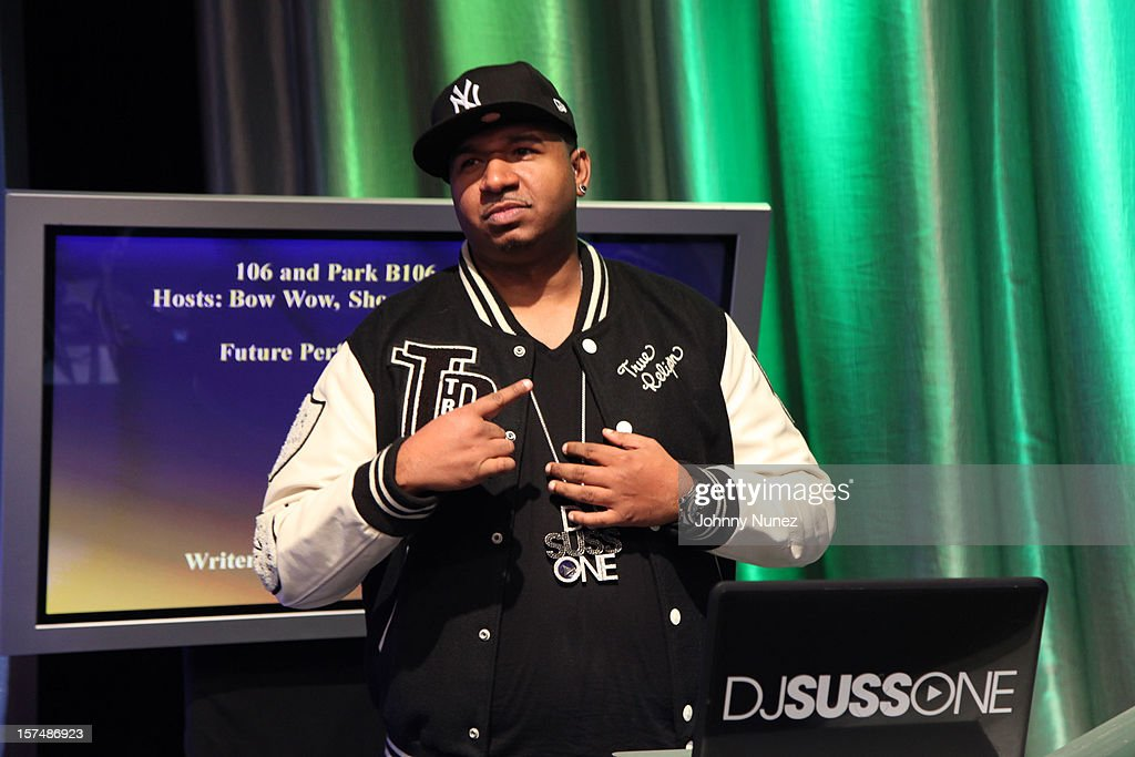DJ Suss One spins at 106 & Park Studio on December 3, 2012 in New York City.