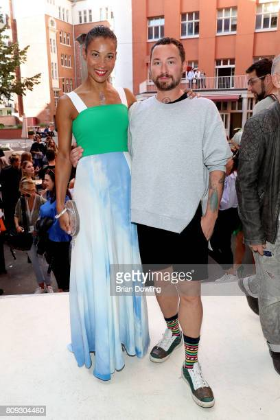 Sussan Zeck and designer Marcel Ostertag attend the Marcel Ostertag show during the MercedesBenz Fashion Week Berlin Spring/Summer 2018 at Delight...