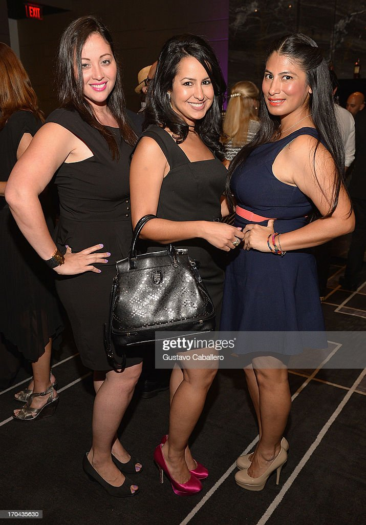 Mia Pinango, Susset Cabrera, guest attend the 'Magic City' preview screening at W South Beach on June 12, 2013 in Miami Beach, Florida.