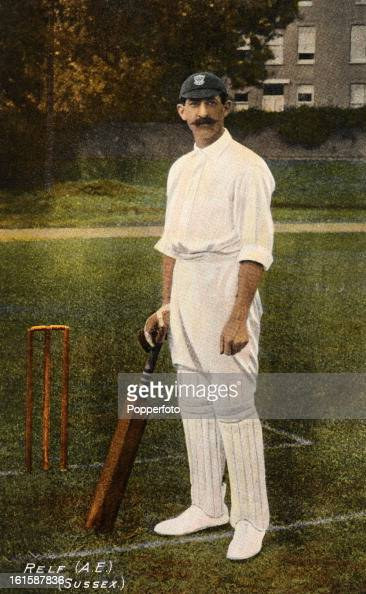 Sussex and England cricketer Albert Relf featured on a vintage postcard circa 1905