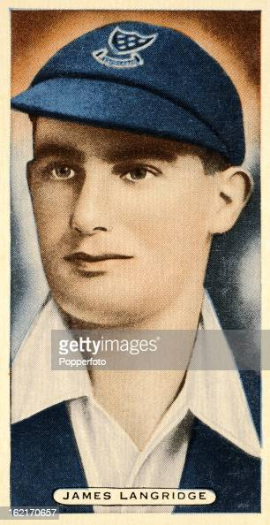 Sussex and England cricketer James Langridge featured on a vintage cigarette card published circa 1935