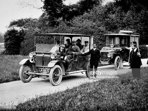 Sussex and England cricketer Kumar Shri Ranjitsinhji seated in the front passenger seat taking friends for a drive around his Shillinglee Park Estate...