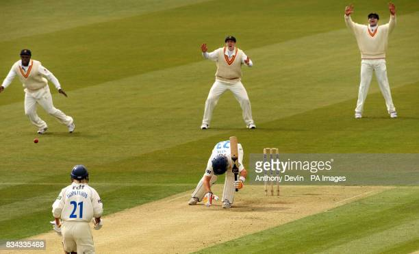 Sussex batsman Chris Nash is out LBW bowled Steve Kirby for 33 during the Champion County match at Lords Cricket Ground London