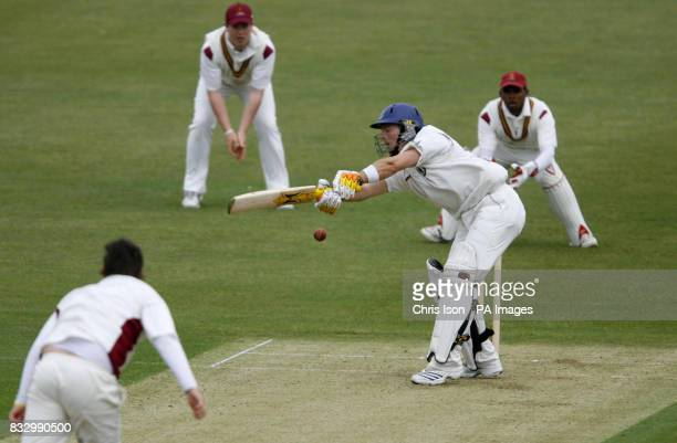 Sussex batsman Chris Nash lashes at a wide ball off Matt Wood during the University match at the County Cricket Ground Hove