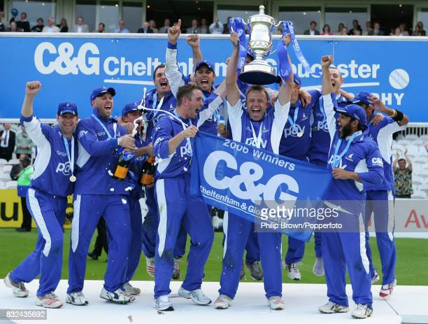 Sussex captain Chris Adams lifts the trophy after Sussex win the Cheltenham and Gloucester Trophy Final between Lancashire and Sussex by 15 runs at...