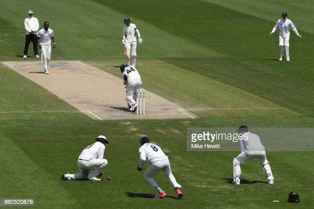 Sussex captain Chris Nash at second slip fails to hold on to a chance offered by Ross Whiteley of Worcestershire off the bowling of Jofra Archer...