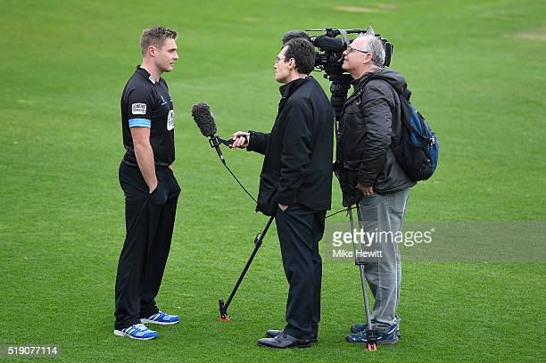 Sussex captain Luke Wright is interviewed during the Sussex Media Day at the County Ground on April 4 2016 in Hove England