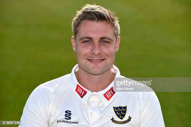 Sussex captain Luke Wright poses for a portrait during the Sussex Media Day at the County Ground on April 4 2016 in Hove England