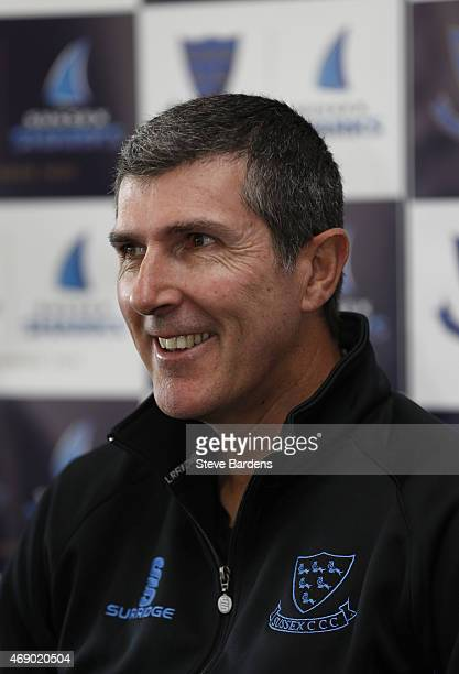 Sussex CCC Head Coach Mark Robinson talks to the media at a press conference during the Sussex County Cricket Photocall at BrightonandHoveJobscom...