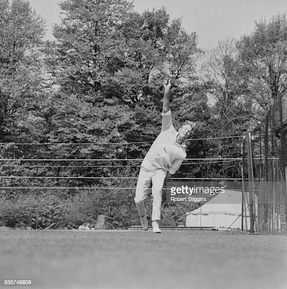 Sussex County Cricket Club player Tony Greig showing his bowling skills 1967