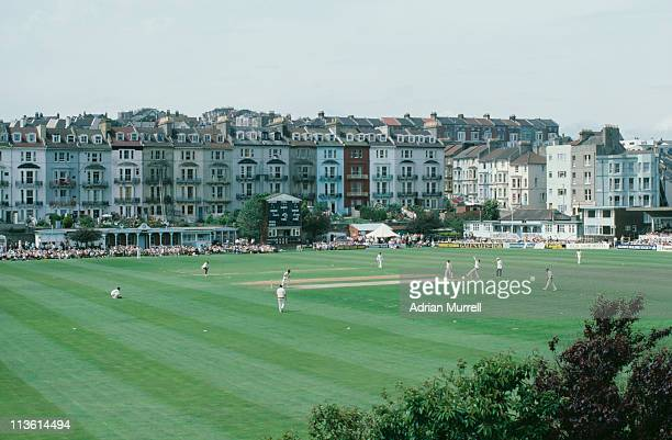Sussex County Cricket Club plays a match against Lancashire at the Central Recreation Ground Hastings East Sussex June 1985 The ground is now the...
