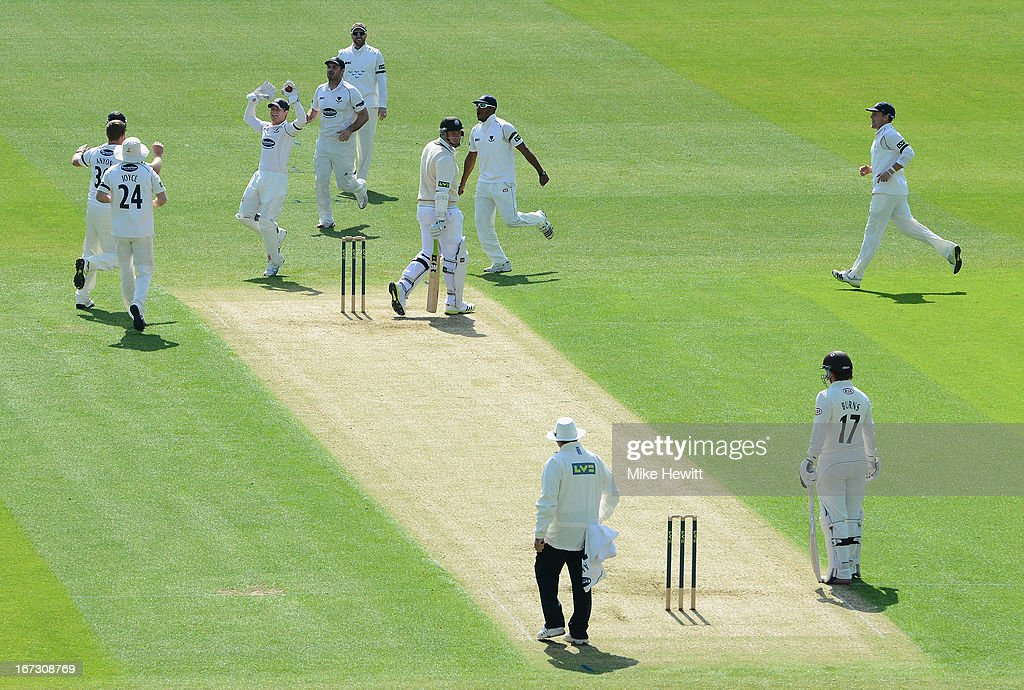 Sussex players celebrate the wicket of <a gi-track='captionPersonalityLinkClicked' href=/galleries/search?phrase=Graeme+Smith+-+Cricket+Player&family=editorial&specificpeople=193816 ng-click='$event.stopPropagation()'>Graeme Smith</a> of Surrey, caught behind by wicketkeeper Ben Brown of Sussex off the bowling of James Anyon during day one of the LV County Championship Division One match between Surrey and Sussex at The Kia Oval on April 24, 2013 in London, England.