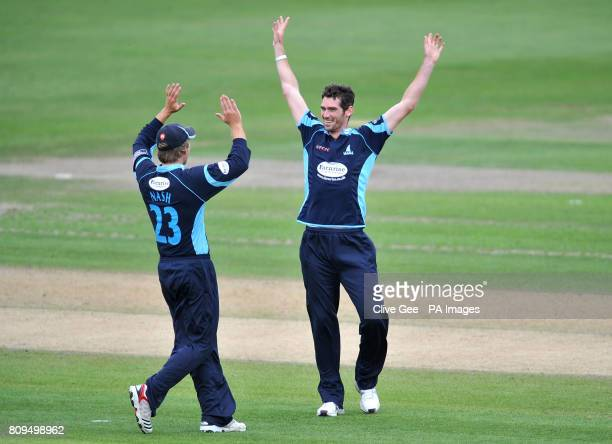 Sussex's Chris Liddle celebrates with Chris Nash after claiming the wicket of India's Sachin Tendulkar during the Tour Match at the PROBIZ County...