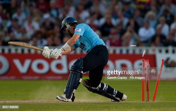 Sussex's Chris Nash is bowled by Somerset's Alfonso Thomas during the Twenty20 Cup final at Edgbaston Birmingham