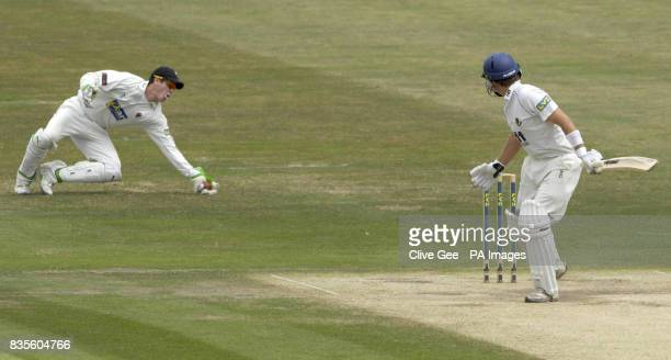 Sussex's Chris Nash is caught by Somerset's wicket keeper Craig Kieswetter off the bowling of Somerset's Alfonso Thomas during the Liverpool Victoria...