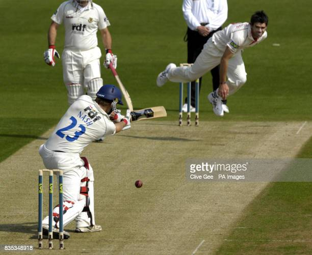 Sussex's Chris Nash plays a shot off the bowling of Lancashire's James Anderson during the Liverpool Victoria County Championship match at The County...