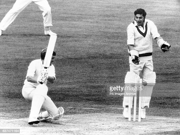 Sussex's Peter Graves is bowled by Lancashire's David Hughes Lancashire wicketkeeper is Farokh Engineer