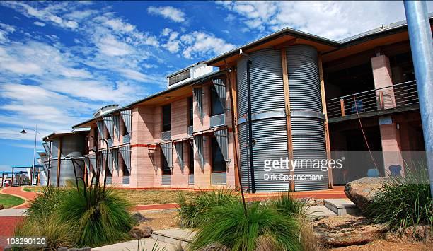 Sustainable ArchitectureRammed Earth Construction Environmental Sciences Building Eastern Wing looking east Charles Sturt UniversityAlbury NSW...